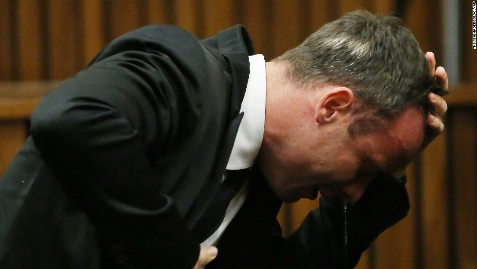 Pistorius weeps as he listens to testimony on April 7.
