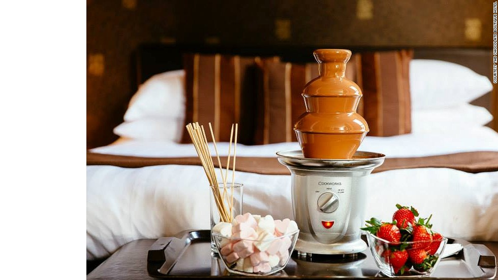 The chocolate-themed rooms are decorated in rich mocha and caramel hues. Luckily, they'll satisfy your cravings with chocolates delivered to your room. For an extra fee, you can get a chocolate fountain.