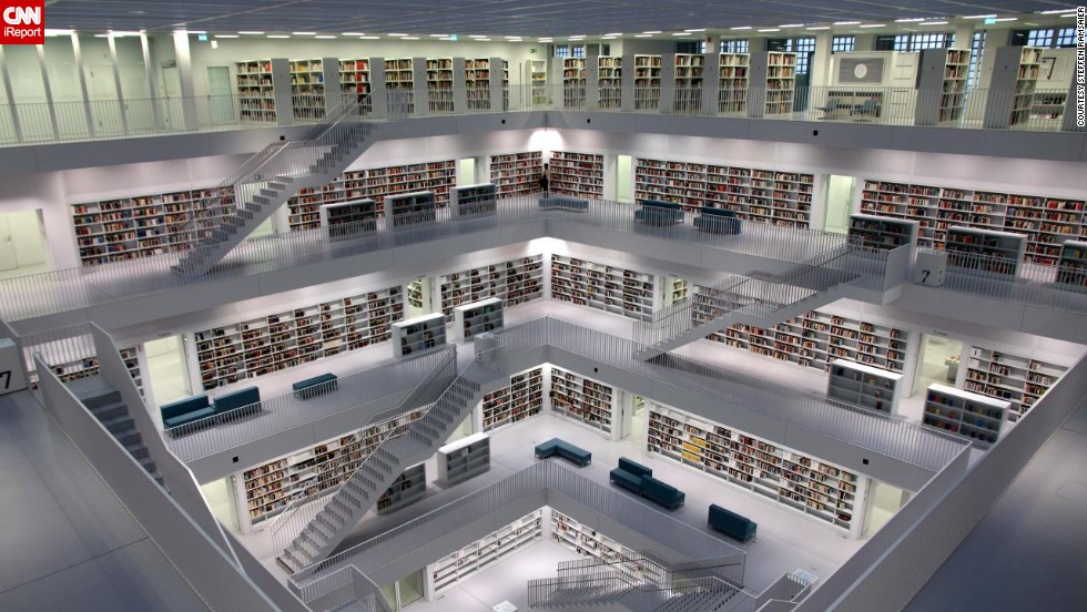 "What <a href=""http://ireport.cnn.com/docs/DOC-1117545"">Steffen Ramsaier</a> loves about Stuttgart's Municipal Library in Germany is its clean architecture. The nine-story library was completed in 2011 and designed to be ""a new intellectual and cultural centre."""