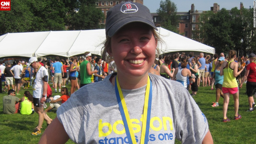 """I wanted to run for those that can't run anymore,"" said Boston resident <a href=""http://ireport.cnn.com/docs/DOC-1063995 "">Ashley Seymour</a>. She was standing near the Boston Marathon finish line when the first bomb went off. She had been a runner all her life, but hadn't done a race since tearing her ACL in 2011. Running became part of her emotional healing process. Since the bombings, she has run a 10K and a half-marathon."