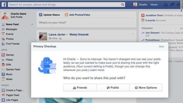 "Facebook is introducing random ""privacy checkups"" for customers who haven't updated their settings in a long time."
