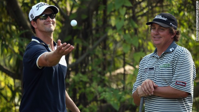 Defending champion Adam Scott, left, and PGA Championship winner Jason Dufner were paired together at the Masters.