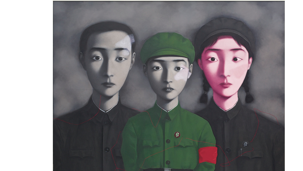 "Zhang Xiaogang's ""Bloodline: Big Family No. 3"" sold at Sotheby's Hong Kong on April 5 for a record $12.1 million."