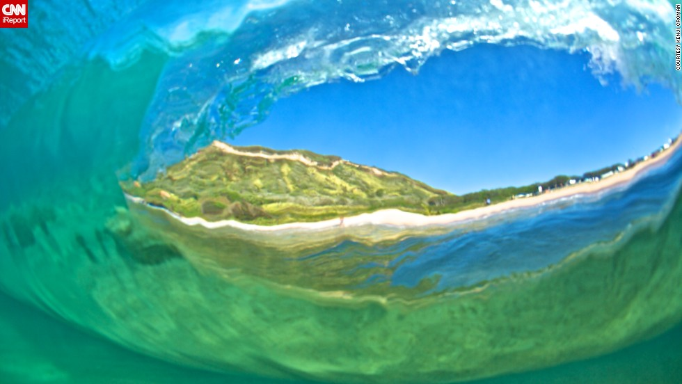 """This is a shot from the back of a wave as it passes me"" at Sandy Beach."