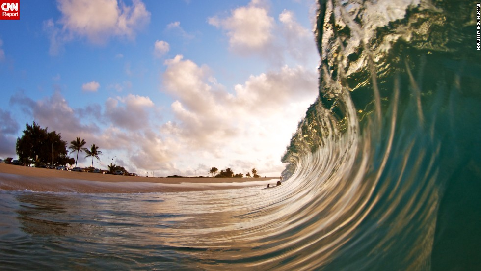 Croman loves photographing waves when the sun is rising over Sandy Beach.