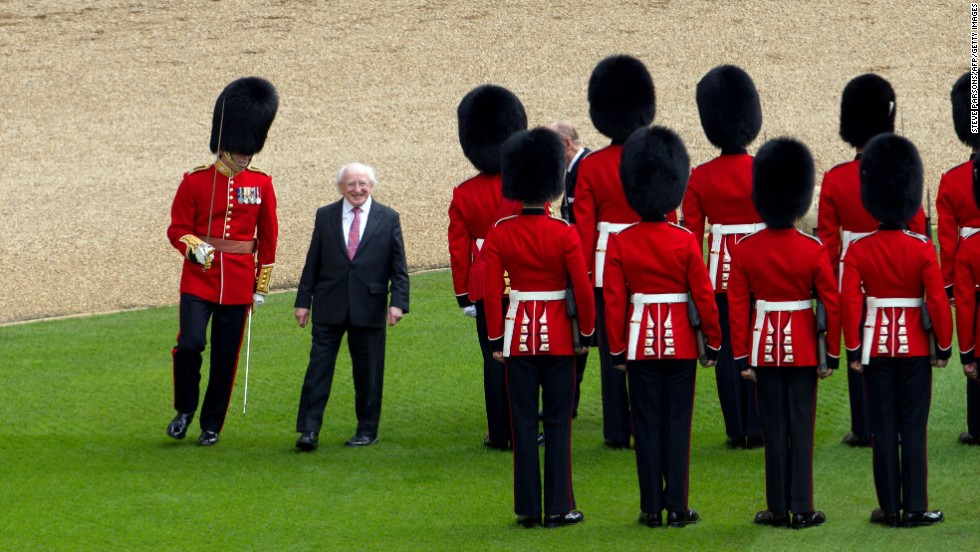 Higgins inspects a guard of honor at Windsor Castle on April 8.