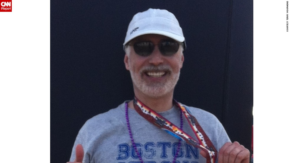 "<a href=""http://ireport.cnn.com/docs/DOC-1076632"">Terry Moorhead</a> of Phoenix did not plan to run another marathon -- this was his sixth -- but after the bombings, ""I I felt compelled to do at least one more. I think about how lucky I am to be able to run, and I will never take it for granted."" He proudly wore a Boston Strong shirt for the Arizona Rock 'n' Roll Marathon in January 2014."