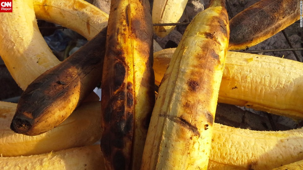 "iReporter Obaroakpo took this picture of roasted plantain or ""bole"" as its called locally, in Benin City, Nigeria. ""Plantain is very rich in iron and can be prepared in different ways, one of which is roasting,"" he said."