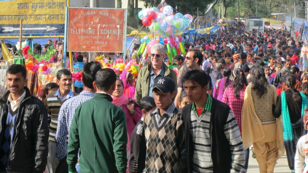 Bourdain attends a traditional Himachal Pradesh village festival. Himachal Pradesh is a northern Indian state that borders Punjab.