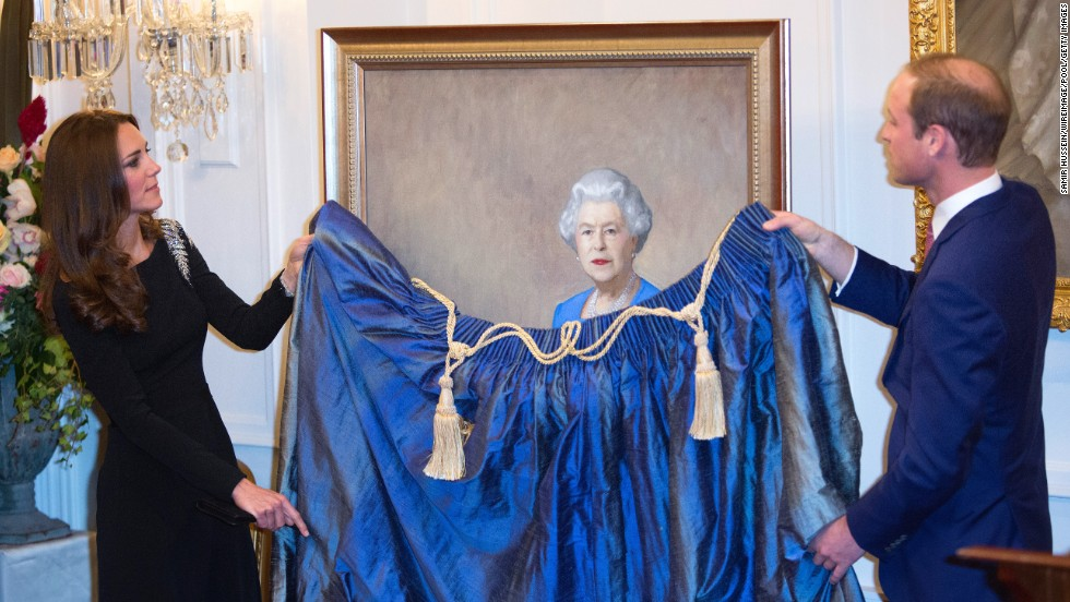 The royal couple unveil a portrait of Queen Elizabeth II, painted by Nick Cuthell, at Government House in Wellington, New Zealand, on April 10.