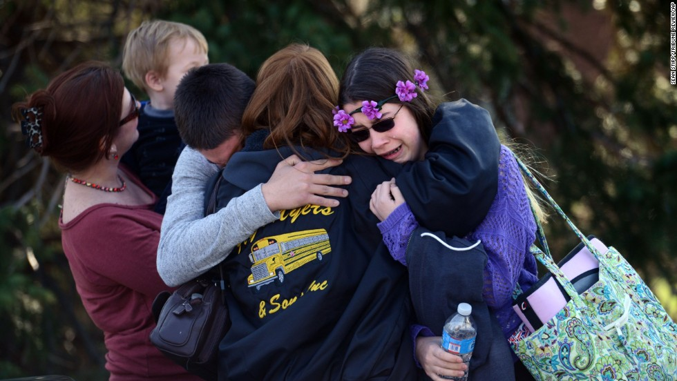 "Parents and students embrace near Franklin Regional High School, where authorities say 21 people were injured in a <a href=""http://www.cnn.com/2014/04/09/us/gallery/pennsylvania-high-school-stabbings/index.html"">stabbing spree</a> Wednesday, April 9, in Murrysville, Pennsylvania. A 16-year-old student, Alex Hribal, has been charged with four counts of attempted homicide and 21 counts of aggravated assault."