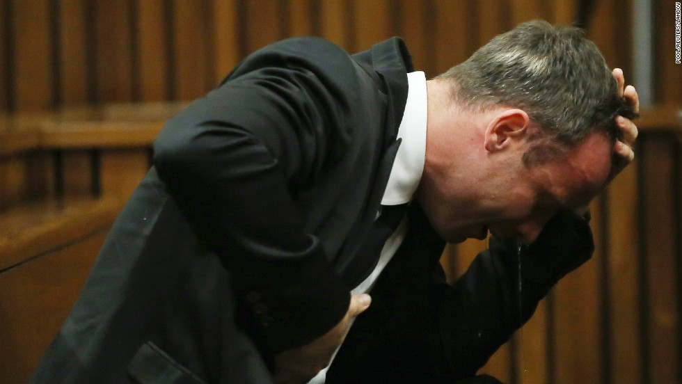 "Oscar Pistorius becomes emotional during <a href=""http://www.cnn.com/2014/03/03/africa/gallery/pistorius-2014-trial/index.html"">his murder trial</a> Monday, April 7, in Pretoria, South Africa. The track star, accused of intentionally killing his girlfriend, Reeva Steenkamp, took the witness stand in his own defense."