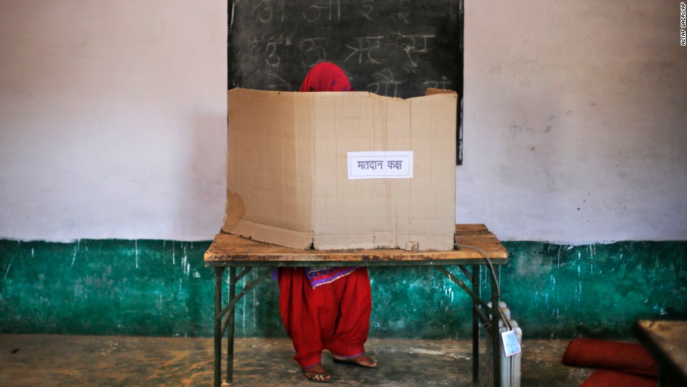 "A woman casts her vote in Muzaffarnagar, India, on Thursday, April 10. India's <a href=""http://www.cnn.com/2014/04/07/world/gallery/india-elections-2014/index.html"">general election</a> is being held in stages over five weeks. Voters will elect 543 members to the lower house of parliament, which will then select the country's next prime minister. Prime Minister Manmohan Singh is stepping aside after a decade in charge."