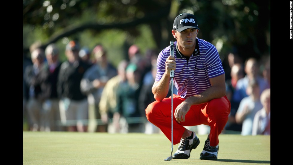 Billy Horschel, seen here during the first round of the 2014 Masters, is known for his colorful ensembles. At the 2013 U.S. Open, he wore pants that had octopuses on them.
