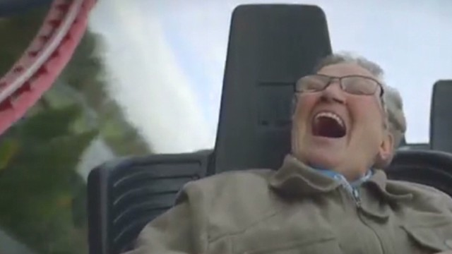 See adorable granny's first coaster ride
