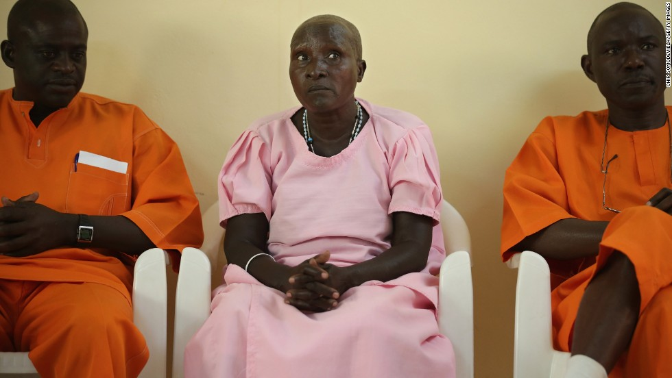 Prisoners convicted of genocide are interviewed by a delegation from the U.S. Holocaust Memorial Museum that visited a prison in Nyanza on April 3.
