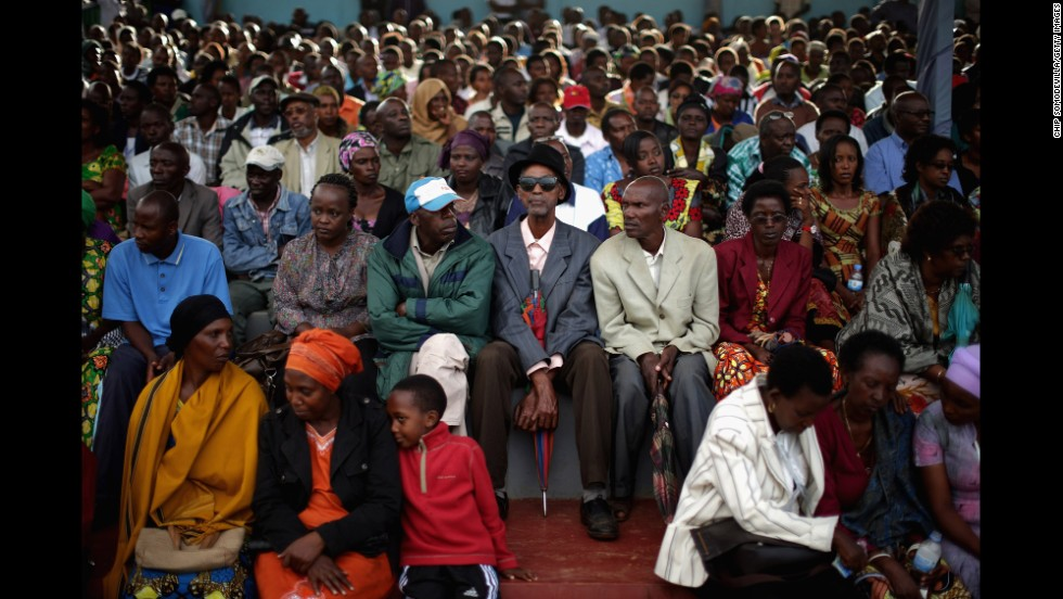 Thousands of people gather April 5 at the Kicukiro College of Technology in Kigali to commemorate the 2,000 people who were abandoned by United Nations troops during the 1994 genocide.