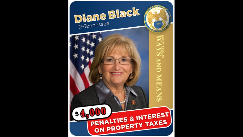 Tennessee Rep. Diane Black racked up almost $4,000 in penalties and interest on a piece of property that her husband's business paid the bill late.
