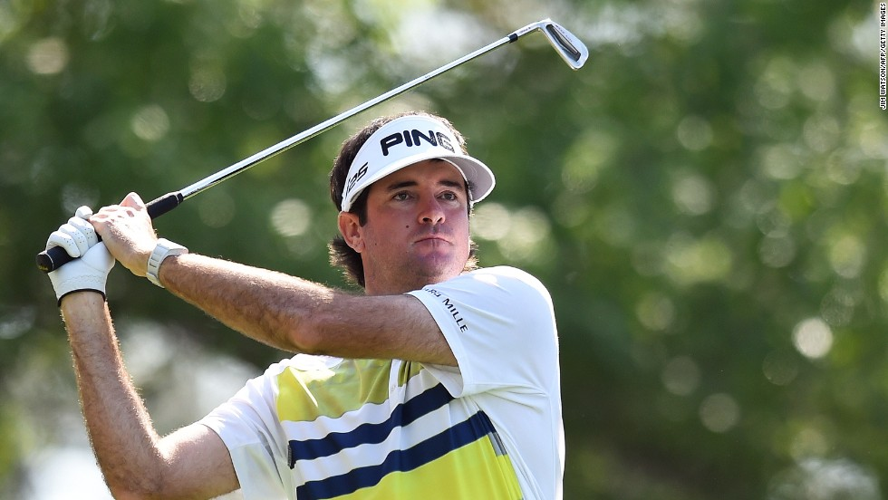 Bubba Watson eyes an approach shot during the second round. The 2012 champion fired five consecutive birdies on the back nine before bogeying the last hole to finish with a four-under round of 68 leaving him seven under after 36 holes.
