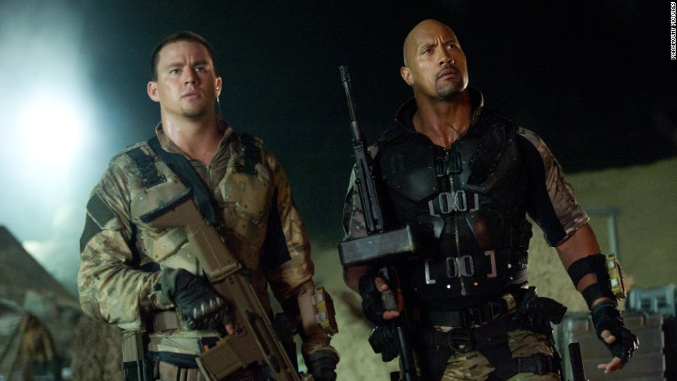 "Channing Tatum, left, and Dwayne ""The Rock"" Johnson star in the 2013 action film ""G.I. Joe: Retaliation,"" a sequel to the 2009 movie ""G.I. Joe: The Rise of Cobra."""