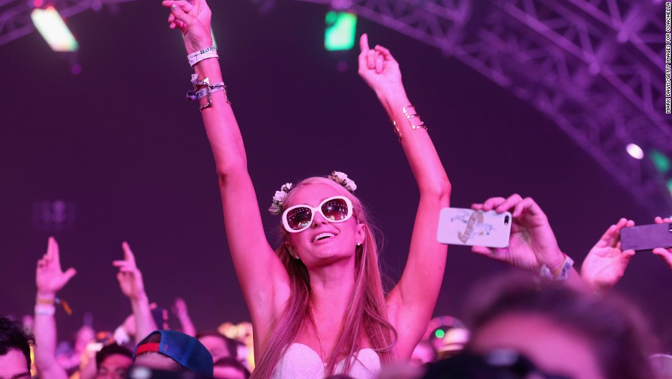 TV personality Paris Hilton watches Empire of the Sun perform on April 12.