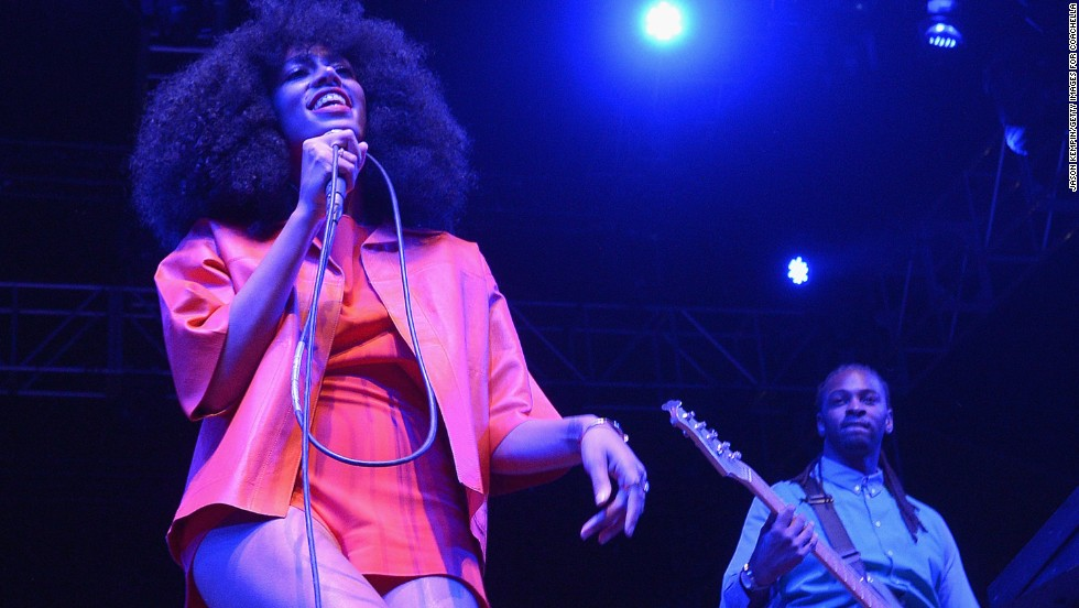 Solange sings on stage on April 12.