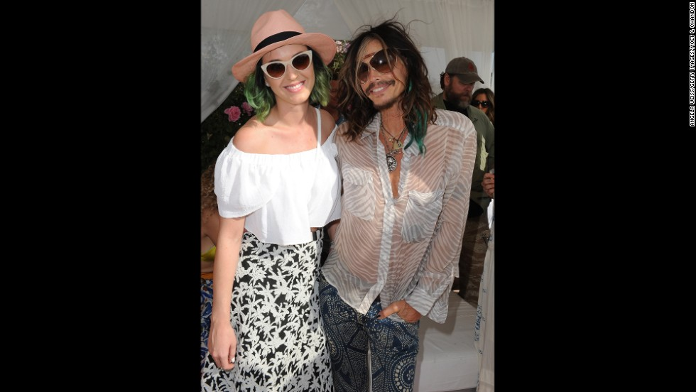 Singers Katy Perry and Steven Tyler attend a party April 12 in nearby Thermal, California.
