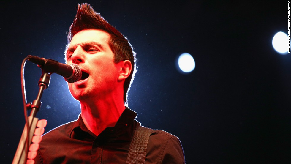 Justin Sane of Anti-Flag sings on stage on April 11.