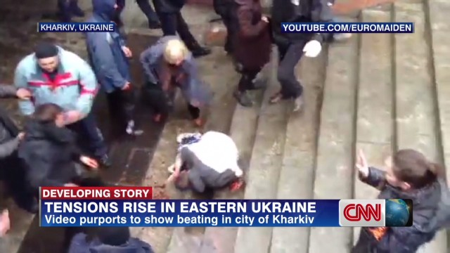 Video purports bloody beating in Ukraine