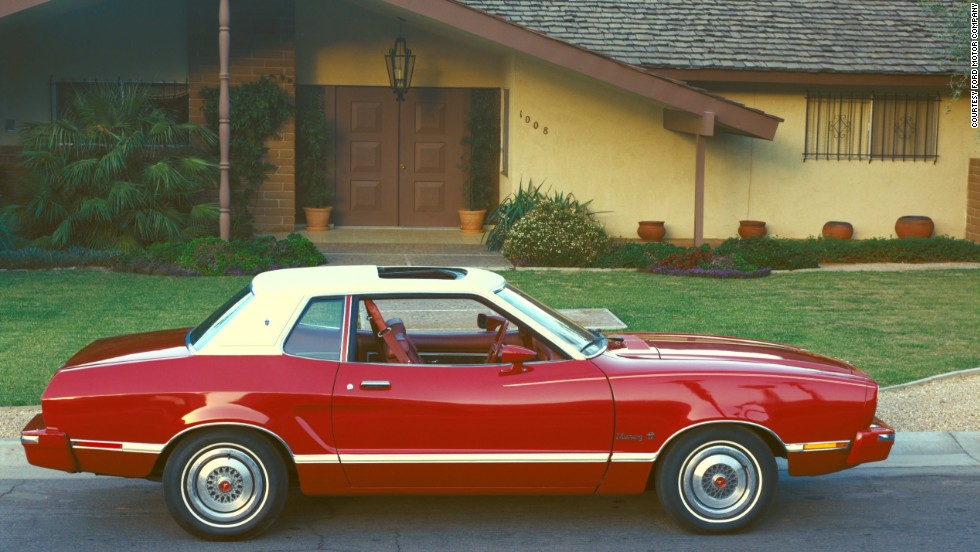 <strong>1974 Ford Mustang II.</strong> The car went on a major diet with the completely redesigned Mustang II, coming in 19 inches shorter and 490 pounds lighter. Gone is the V-8; the only two engine choices were an 88-horsepower 2.3-liter inline-four or a 109-horsepower 2.8-liter V-6.