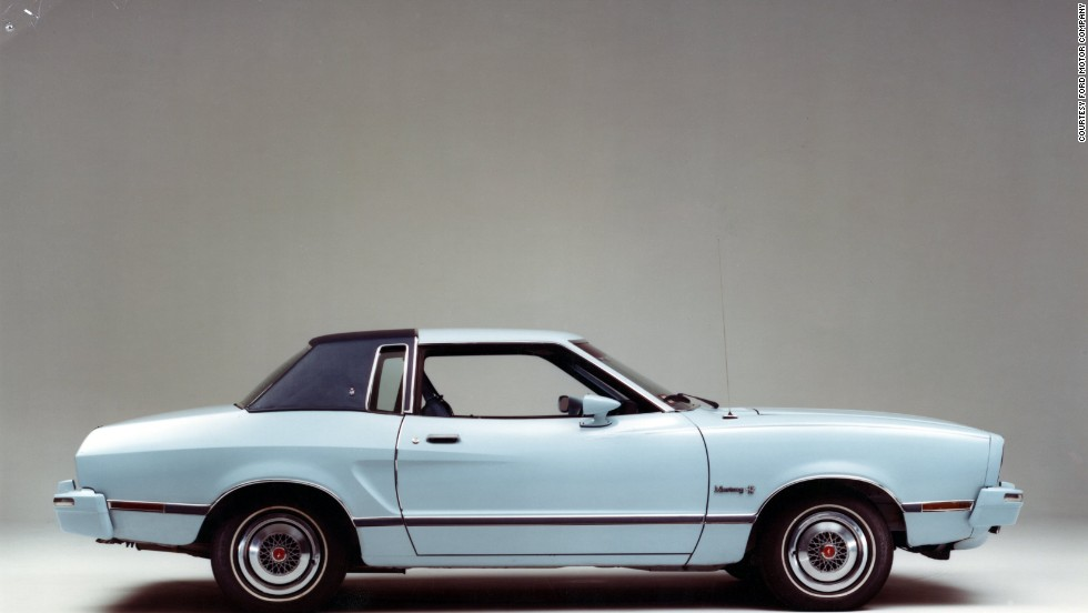 <strong>1975 Ford Mustang II Ghia.</strong> The V-8 came back in 1975, but the 302-cubic-inch engine produced only 133 horsepower -- and only with an automatic transmission.
