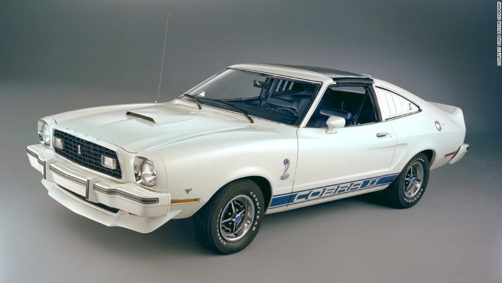 <strong>1976 Ford Mustang II Cobra II. </strong>The Cobra II, meant to recall the famed Shelby Mustangs, came with a nonfunctional hood scoop, a racing stripe sand front and rear spoilers. It was available in white with blue stripes, blue with white stripes, and black with gold stripes.
