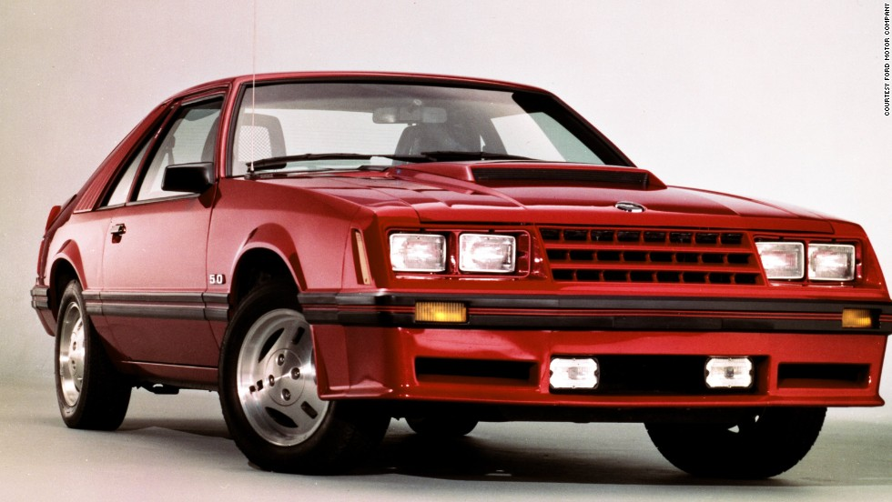 <strong>1982 Ford Mustang GT.</strong>  The GT moniker returned after a 12-year absence. Optional T-tops made a comeback as well, as did the 5.0-liter V-8. This one rated at 157 horsepower with a two-barrel carburetor.