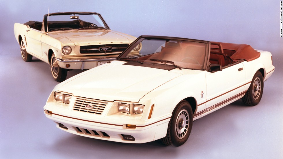 <strong>1984 Ford Mustang convertible, right, and 1965 Mustang.</strong> For the 20th anniversary edition Mustang, a special V-8-powered GT model was offered -- painted Oxford White with Canyon Red interior -- in either coupe or convertible form.