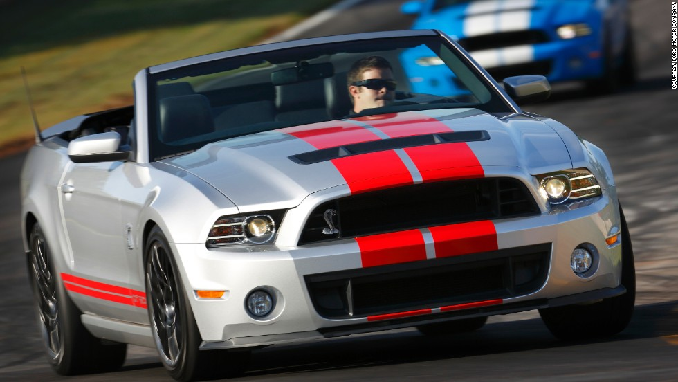 <strong>2013 Ford Shelby GT500. </strong>The GT500 was fitted with a supercharged 5.8-liter V-8 that generated 662 horsepower, enough to provide a top speed of just over 200 mph.