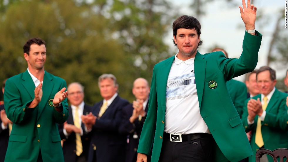Bubba Watson dons the famous green jacket for the second time after a three-shot triumph at Augusta National Golf Club in Georgia on Sunday, April 13.