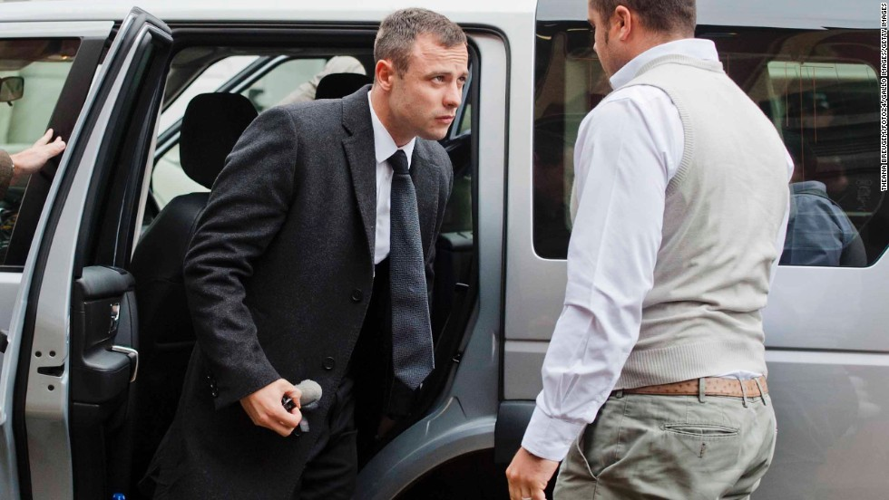 Pistorius arrives at the court in Pretoria on Monday, April 14.