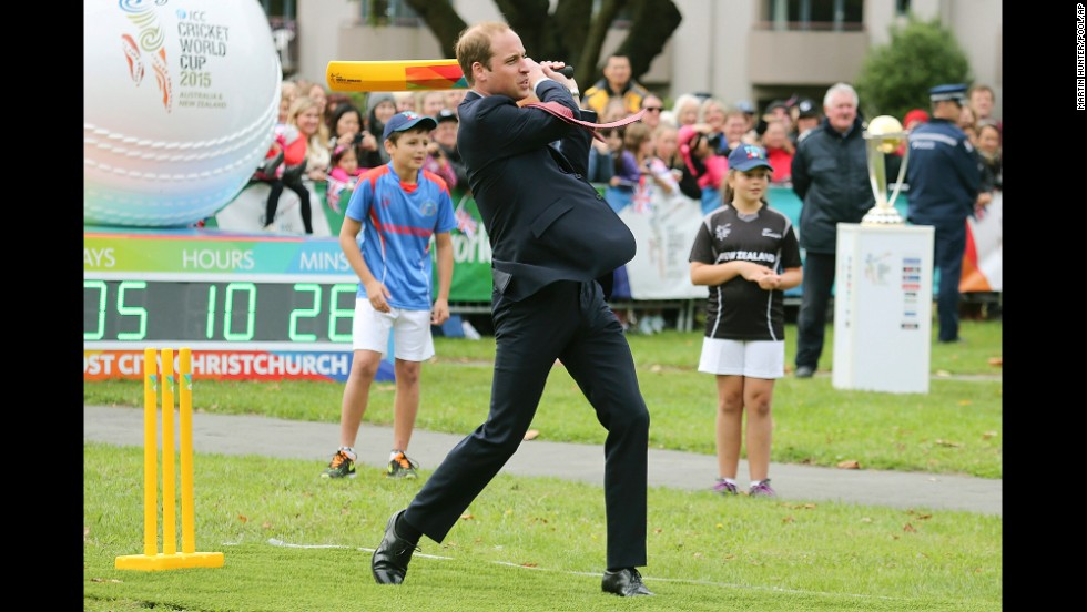 William plays cricket in Christchurch's Latimer Square on April 14.