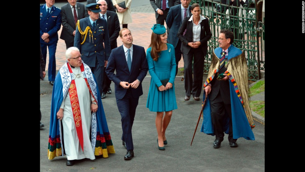 William and Catherine walk with the dean of St. Paul's Cathedral, the Very Rev. Trevor James, left, and Ngai Tahu representative John Broughton after arriving for a Palm Sunday service at the cathedral in Dunedin, New Zealand, on April 13.