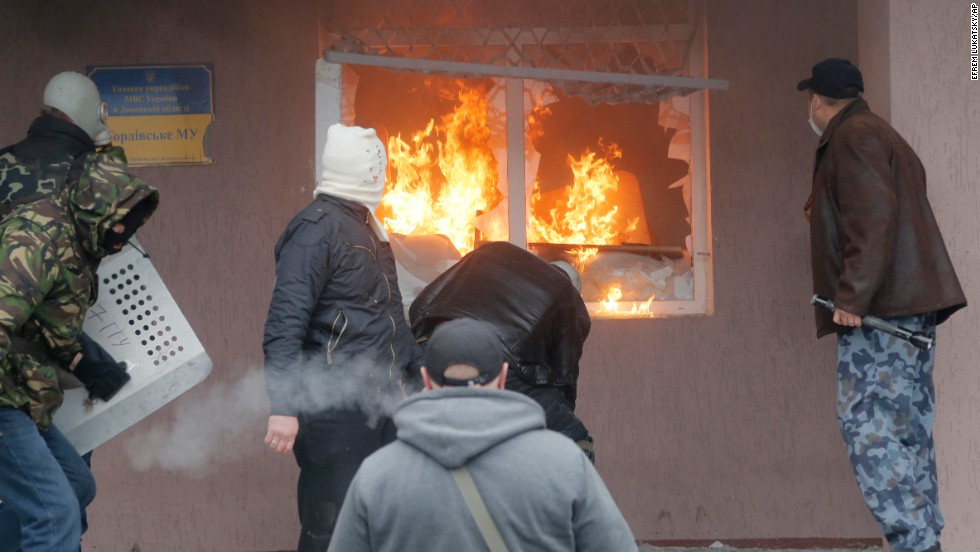 The Horlivka police station burns on April 14.