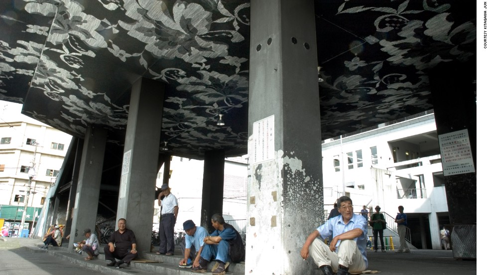 Enjoying the shade under a ceiling painted by Kitagawa. The artist is often commissioned to provide installations for cities, festivals and cultural events.