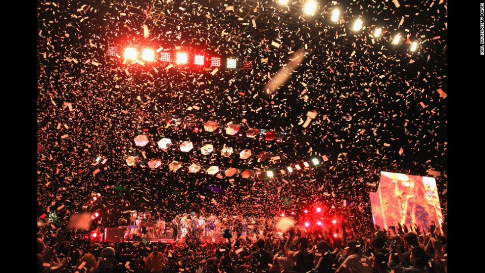 Confetti flies as Arcade Fire performs on April 13.