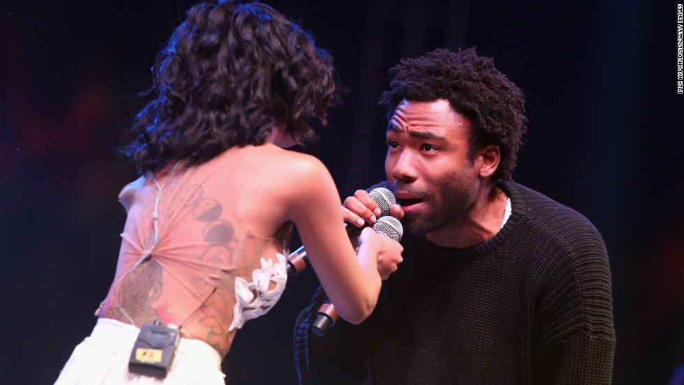 Singer Jhené Aiko and rapper Childish Gambino perform on April 13.