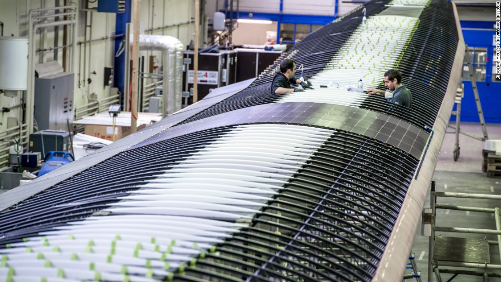 The top surface of the plane's wings is covered with 17,000 solar cells that supply four electric motors with renewable energy. Its batteries can store enough solar daytime energy to keep the plane moving throughout the night.