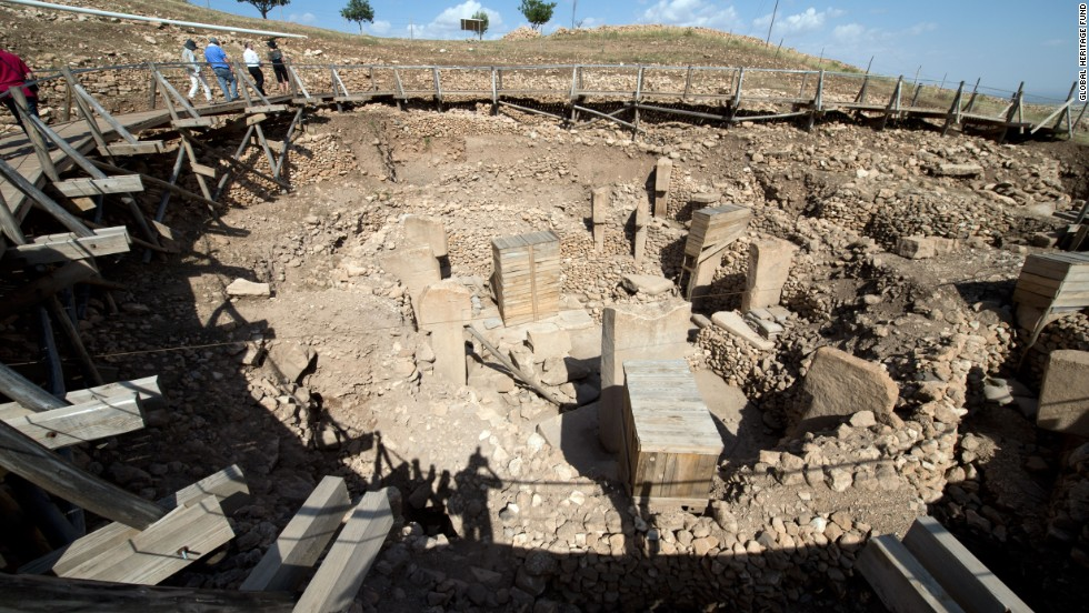 "Built at least 10,000 years ago,  <a href=""http://globalheritagefund.org/what_we_do/overview/current_projects/gobekli_tepe_turkey"" target=""_blank"">Gobekli Tepe in Turkey</a> is thought to have been a ceremonial center where communities gathered for rituals. That's because the site, which is only 5% excavated, has no residential structures."