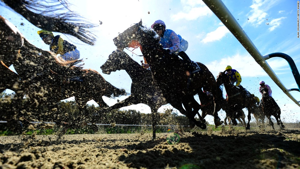 Horses race Wednesday, April 9, at the Lingfield Park Racecourse in Lingfield, England.