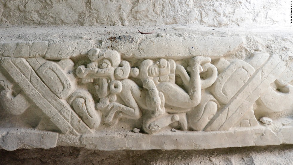 The Popol Vuh stucco sculpture at El Mirador in Guatemala, shown here, is one of the earliest depictions of the Maya creation story, called the Popol Vuh.