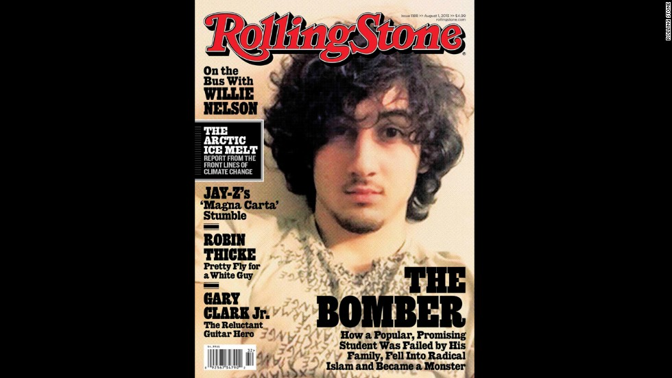"The<a href=""http://www.cnn.com/2013/07/17/studentnews/tsarnaev-rolling-stone-cover/"" target=""_blank""> August 2013 cover of Rolling Stone</a> featured Tsarnaev and sparked a backlash against the magazine."