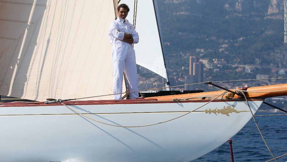 Rafael Nadal geared up for this week's ATP Monte-Carlo Masters by sailing around the Monte-Carlo harbor on board the Tuiga.