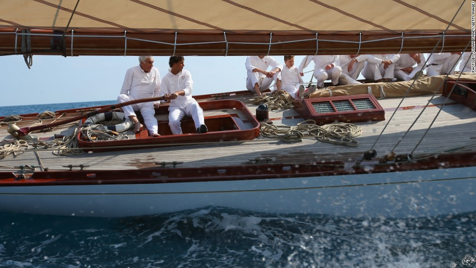 Nadal helped man the rudder and learned the ropes of how to sail the Yacht Club de Monaco's flagship, while being treated to spectacular views of the Cote d'Azur coastline.